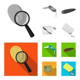 A fingerprint study, a folding knife, a cigar detective, a crime weapon tool in the package. Crime and detective set. Collection icons in monochrome,flat style Royalty Free Stock Photography