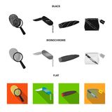 A fingerprint study, a folding knife, a cigar detective, a crime weapon tool in the package. Crime and detective set. Collection icons in black, flat Royalty Free Stock Photography