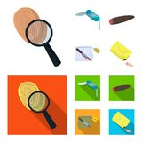 A fingerprint study, a folding knife, a cigar detective, a crime weapon tool in the package. Crime and detective set. Collection icons in cartoon,flat style Royalty Free Stock Image