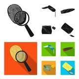 A fingerprint study, a folding knife, a cigar detective, a crime weapon tool in the package. Crime and detective set. Collection icons in black,flat style Stock Image