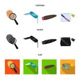 A fingerprint study, a folding knife, a cigar detective, a crime weapon tool in the package. Crime and detective set. Collection icons in cartoon,black,flat Stock Photos