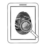 Fingerprint and tablet design. Fingerprint and tablet icon. Identity security print and privacy theme. Isolated design. Vector illustration Royalty Free Stock Photos