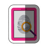 Fingerprint and tablet design. Fingerprint and tablet icon. Identity security print and privacy theme. Isolated design. Vector illustration Royalty Free Stock Images