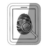 Fingerprint and tablet design. Fingerprint and tablet icon. Identity security print and privacy theme. Isolated design. Vector illustration Stock Photos