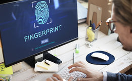 Fingerprint Technology Futuristic Coding Digital Concept Royalty Free Stock Photography