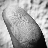 Fingerprint. Thumb covered with chalk Royalty Free Stock Image