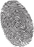 Fingerprint. Of a thumb, solid black ink on white Royalty Free Stock Image