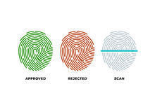 Fingerprint thumbprint vector icons set. Approved, rejected and scan symbols. Approved person with fingerprint, identification with thumbprint or fingerprint Stock Image