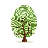 Finger print tree for human identity concept. Fingerprint tree. Green human finger print concept for psychology project, identity or personality designs. EPS10 Stock Images