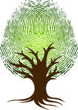 Fingerprint tree logo. Illustration art of a fingerprint tree logo with isolated background Stock Image