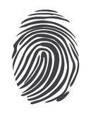Fingerprint. Twisted lines sign isolated on white vector illustration in flat design. Black dactylogram personal identity code Royalty Free Stock Photo