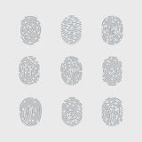 Fingerprint. Types of Fingerprint Patterns Detailed for Identity Person Security ID on Gray Background Stock Photography
