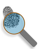 Fingerprint under magnification glass. Concept isolated on white Royalty Free Stock Images