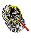 Fingerprint under a magnifier Royalty Free Stock Image