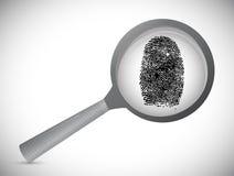 Fingerprint under a magnify glass. illustration. Design over white Stock Photography