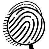 Fingerprint under a magnifying glass Stock Photos