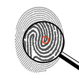 Fingerprint under a magnifying glass. On the image it is presented fingerprint under a magnifying glass Royalty Free Stock Photo