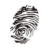 Fingerprint vector black on white background. Finger fingerprint print vector identity thumbprint detective abstract privacy crime design drawing fingermark Royalty Free Stock Images