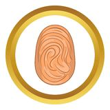 Fingerprint vector icon. In golden circle, cartoon style isolated on white background Stock Photography
