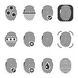 Fingerprint vector icons. Fingerprint icon, identity fingerprint or thumbprint, security biometric fingerprint illustration Stock Photography
