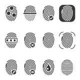 Fingerprint vector icons. Fingerprint icon, identity fingerprint or thumbprint, security biometric fingerprint illustration Stock Photography