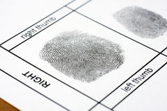 Fingerprint. A fingerprint on a white sheet of paper stock photography