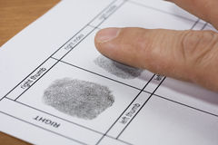 Fingerprint. A fingerprint on a white sheet of paper royalty free stock images