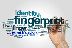 Fingerprint word cloud concept on grey background.  Stock Photography