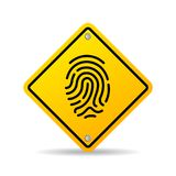 Fingerprint yellow vector sign. Isolated on white background Royalty Free Stock Photography
