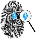 Fingerprint16_detalles. Fingerprint and magnifying glass. Attention to detail concept Stock Illustration