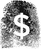 Fingerprint19detalles. Identity & Money concept. Fingerprint with a money sign ($) carved Vector Illustration