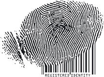 Fingerprint7codebar. Registered Identity - Fingerprint becoming codebar Royalty Free Stock Image