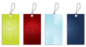 Fingerprinted. Labels with fingerprints texture on surface Royalty Free Stock Photo