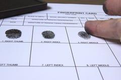 Fingerprinting card. Female being fingerprinted on white card using black ink pad Stock Photos