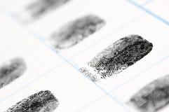 Fingerprints. Closeup of fingerprints on a card Stock Image