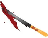 Fingerprints. Bloody fingerprints on the knife from the scene. Vector illustration Stock Photos
