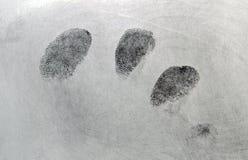 Fingerprints. Set of right hand fingerprints developed on paper using black fingerprint powder Royalty Free Stock Photography