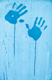 Fingerprints of blue paint Royalty Free Stock Image
