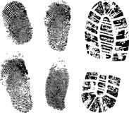 Fingerprints and bootprint. Detailed finger and boot print - vector illustration Stock Photo