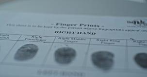 Fingerprints card close up in motion, CSI.