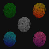 fingerprints Ejemplo de la huella dactilar de diversos colores en un fondo negro Ilustración del vector stock de ilustración