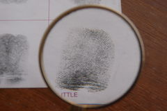 Fingerprints examination Stock Photo
