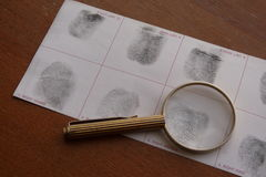 Fingerprints examination Stock Photos