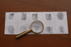 Fingerprints examination Stock Image