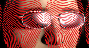 Fingerprints and face. Man with sunglasses looking at fingerprints Royalty Free Stock Images