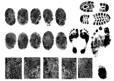 Fingerprints and footprints. Black and White Vector Fingerprints and footprints - Very accurately scanned and traced Royalty Free Stock Image