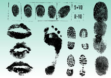 Fingerprints footprints and lips 2 royalty free illustration
