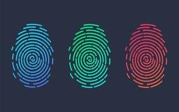 fingerprints Illustration de l'empreinte digitale de différentes couleurs sur un fond noir illustration libre de droits