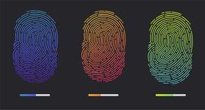 Fingerprints of different colors. Fingerprints. Illustration of the fingerprint of different colors on a black background. Vector illustration Eps10 file Royalty Free Stock Photos