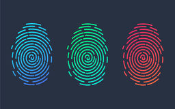 Fingerprints. Illustration of the fingerprint of different colors on a black background.. Vector illustration Eps10 file Stock Image